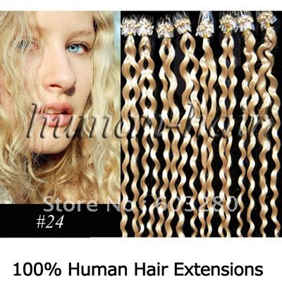 20inch-50cm micro rings/links Curly Remy Human hair extension 0.5g #24 medium blonde color 300pieces150gram/LOT<br><br>Aliexpress