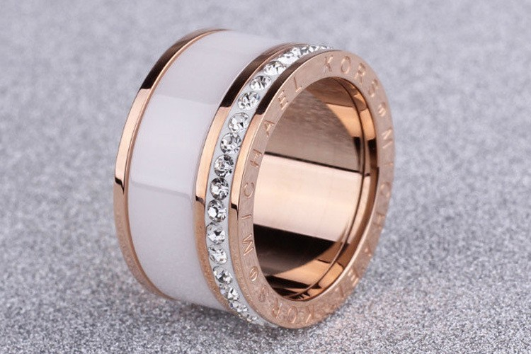 Rose Gold Silver Stainless Steel Ring With Ceramic And Rhinestone / Rings For Women