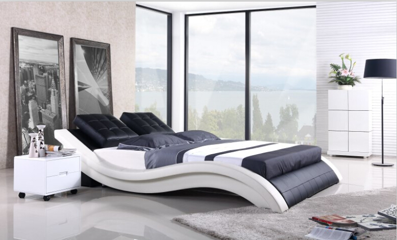 Modern bedroom furniture Genuine leather bed king bed furniture with Night Stand(China (Mainland))