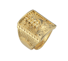 New 2016 Fashion Gold Filled Men Jewelry Sailing Ship Design 18k Gold Plated Men's Rings(China (Mainland))