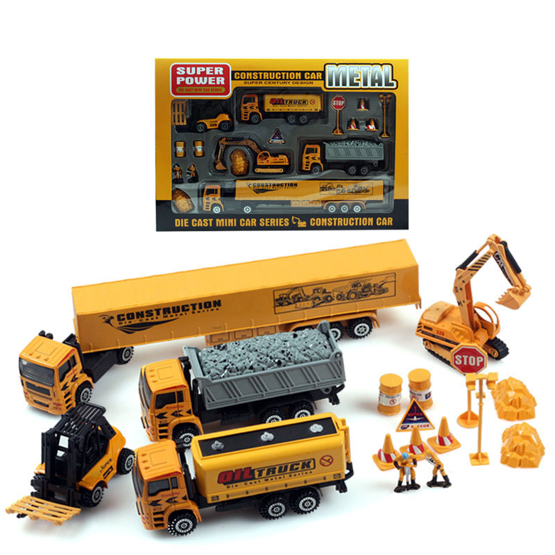 1:50 Pull Back Truck Model Car excavator Alloy Metal & Plastic Toy Back in the simulation of engineering Children's boby toys(China (Mainland))