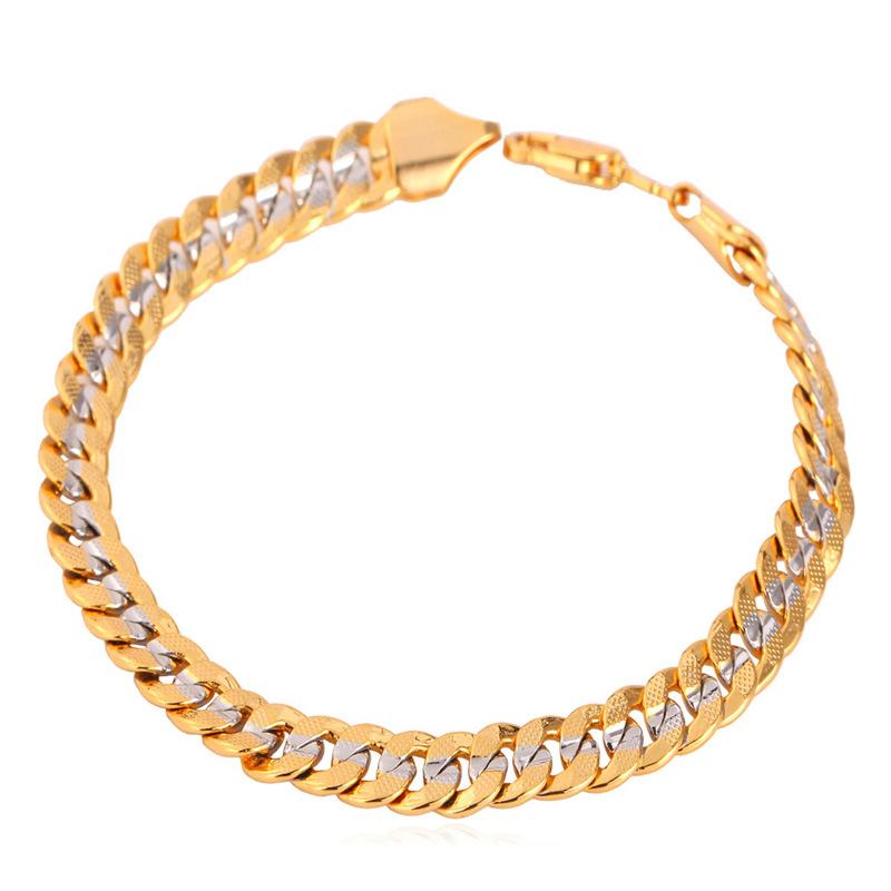 Cuban Chain Platinum: U7 Trendy Two Tone Bracelet Men Jewelry Yellow Gold