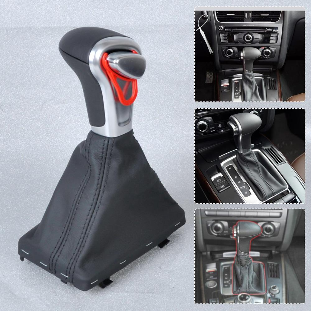 PU Leather AT Shift Knob +Gaiter for Audi A3 A4 A5 A6 Q7 Q5<br><br>Aliexpress