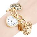 Hot Watches Women Wristwatches Fashionable Sweet Heart Pendant Gold Alloy Quartz Bracelet Watch