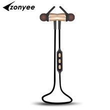 2017 Zonyee Bluetooth Headset Metal Magnetic Wireless Stereo Headphones with Mic Sport Running Apt-X HD Music Bluetooth earphone(China (Mainland))