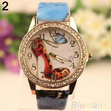 Women s Retro Rhinestone High Heeled Shoe Printed Faux Leather Wrist Watch 6L8D