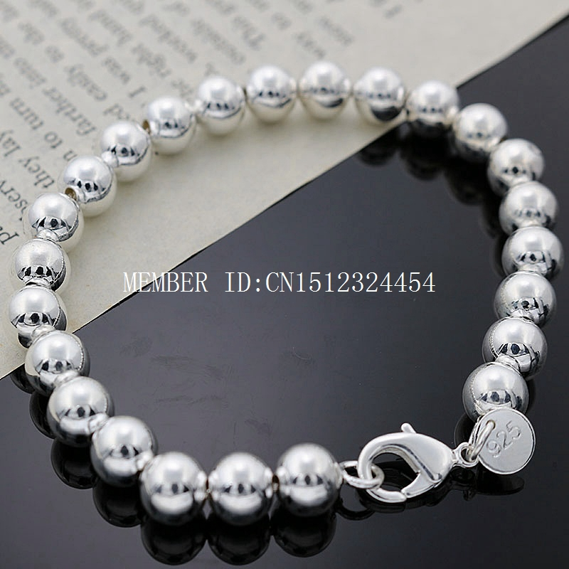 free shipping Silver with copper Nickel Free fashion beautiful beads strand link bracelets for girls Wholesale(China (Mainland))