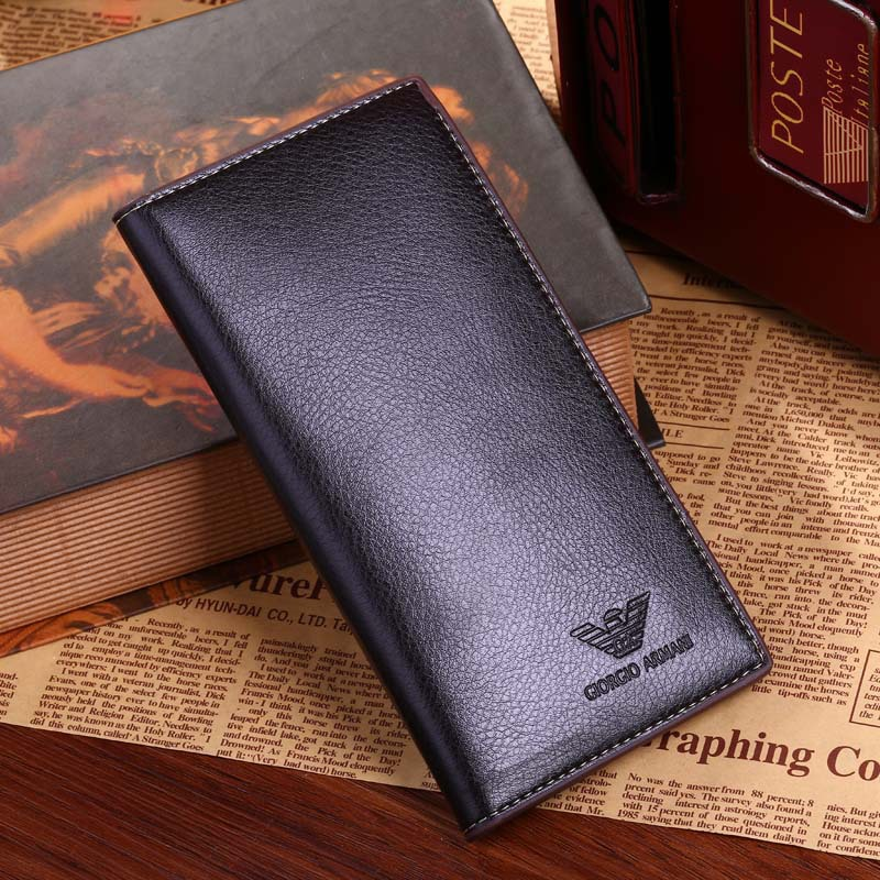 2015 Wholesale solid magic men wallets soft long male clutch bag thin brand leather portfolio male purse clip for money(China (Mainland))