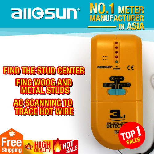 all-sun TS73 Handheld 3in1 Detector Find Metal Wood Studs AC Voltage Live Wire Wall Scanner Electric Box Finder Tester Groove(China (Mainland))