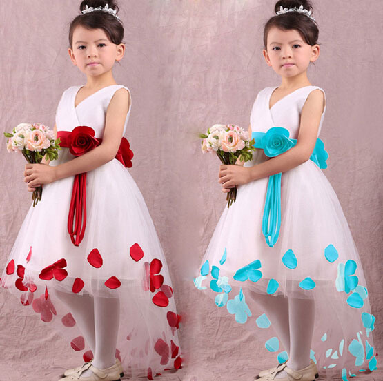 Baby Girls Kids Princess Flower Petals Christmas Fantasy Formal Gown Fancy Dress H2159(China (Mainland))