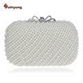 Free Shipping Women Retro Beaded Day Clutches Fashion Elegant Pearl Handbag Wedding Party Evening Bag With