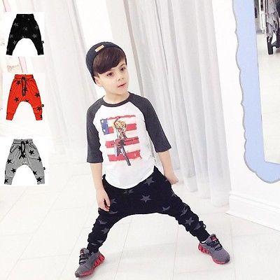 Sportswear Bottoms Children Baby Kids Boy Toddler Clothes Sports Outwear Casual Loose Stars Haren Pants Leggings Trousers<br><br>Aliexpress