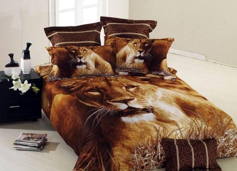 Brown Lion Animal Print Comforter Bedding Set Queen Size