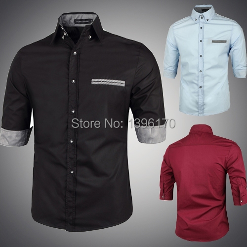 New 2014 autumn unique solid color half sleeved shirts men for Wine colored mens dress shirts