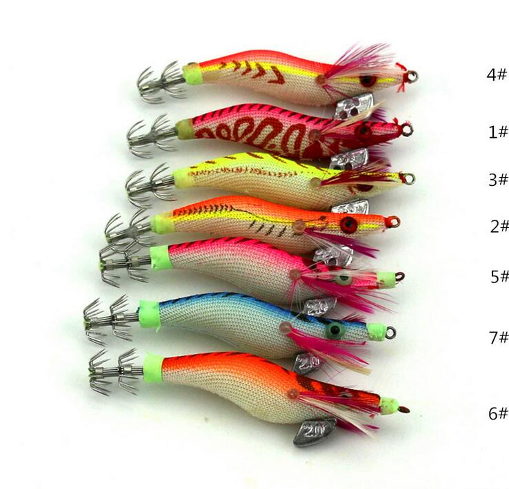 1Pcs Hot selling wood Shrimp Lure Squid Night Fishing Squid Jigs Lures Bass Bait 8cm 7.4g(China (Mainland))
