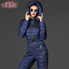 High Quality Women Winter Jackes And Coats Warm Ski Suits Women Russia waterproof  windproof Jumpsuits  Snow Wear Slim Bodysuit(China (Mainland))