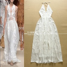 2015 Europe Fashion Heavy Embroidery Elegant Catwalk Models Sexy Perspective Halter Big Swing Dress US03017