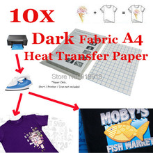 10 x A4 T-Shirt Transfer Paper T-shirt Laser/Inkjet Iron-On thermal/Heat Transfer Paper, For Dark Color Fabric 11.7 x 8.3 in(China (Mainland))