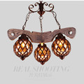 Vintage Loft Personality American Country Wood Iron Glass Led E27 1 2 3 5 Head Pendant