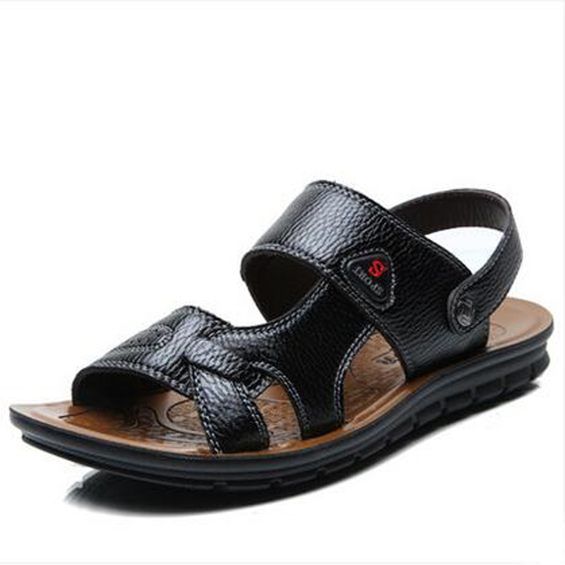 Men Sandals Real Genuine Leather Mens Casual Breathable Slippers 2016 Summer Cutout Male Beach Shoes<br><br>Aliexpress