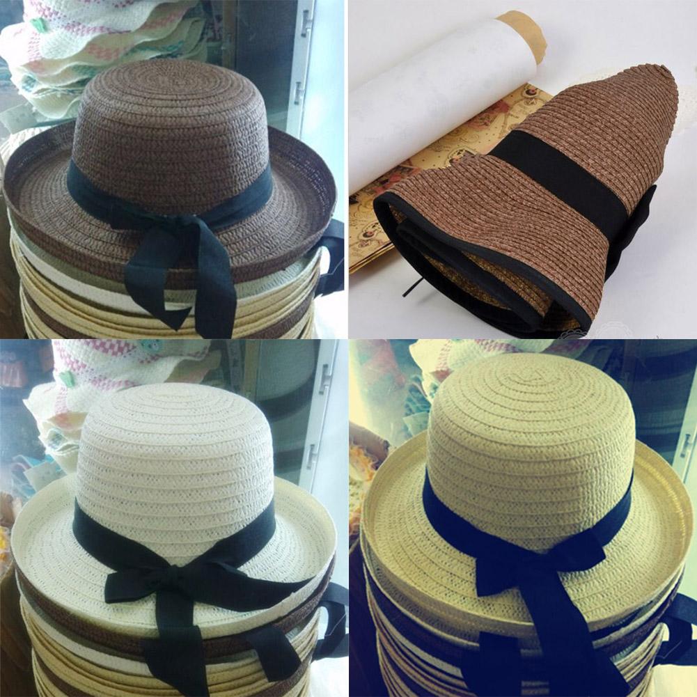 Summer women Trilby Sunhat Coffee Straw Panama bowknot Roll Up Beige Beach Cap Ladies Wide Brim Hat(China (Mainland))