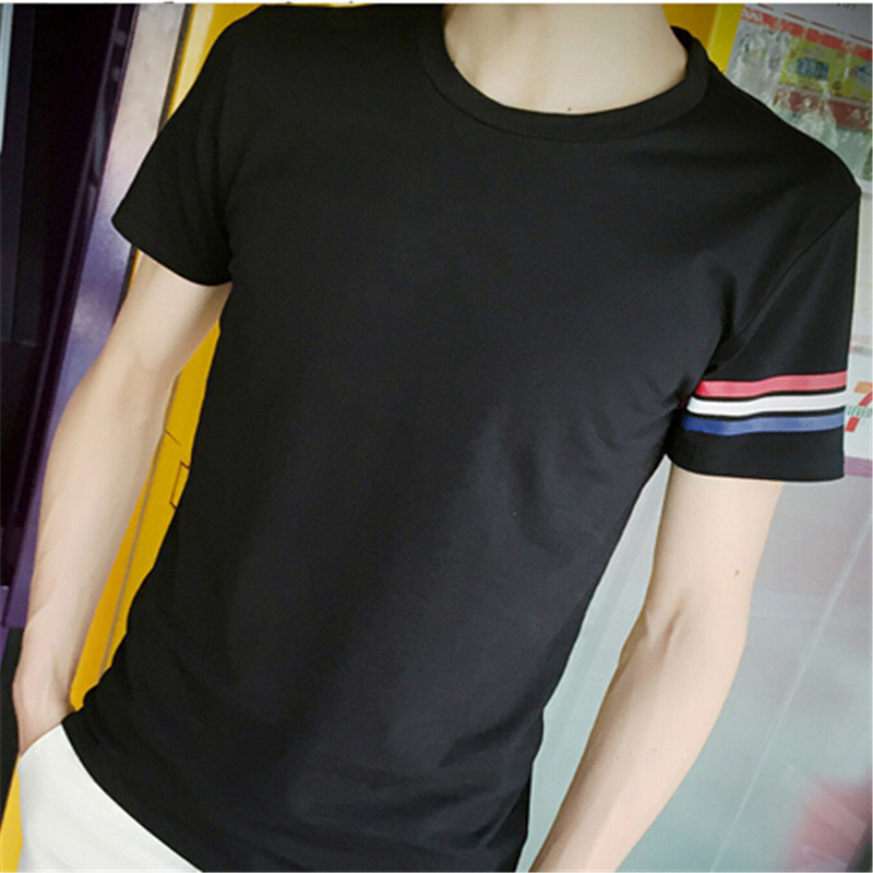 Free shipping 2016 Thai fashion design high quality T shirt male solid color round neck short sleeve T shirt low discount(China (Mainland))