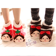 Aimengqiqi warm home package with plush cotton slippers cartoon plush boots at home slipper shoes woman 2013 free shipping(China (Mainland))
