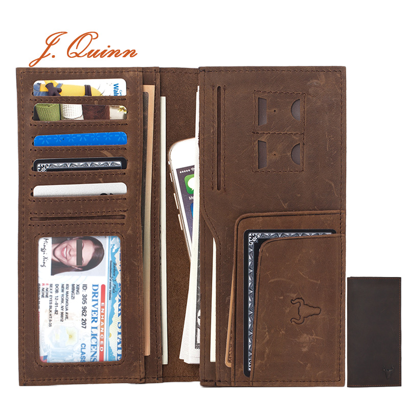 J.Quinn Mens Large Real Leather Wallets New High Quality Genuine Leather Brown Bifold Soft Long Cowhide Men Wallet Purse Coin(China (Mainland))