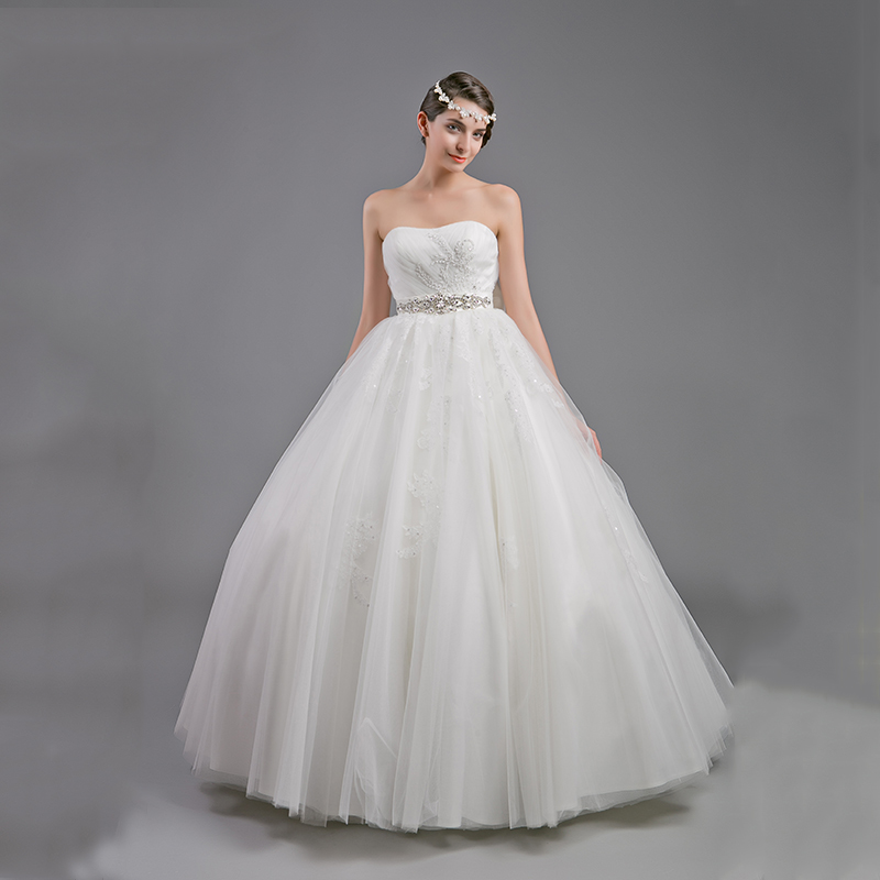 Real Sample 2016 A-Line Vintage Wedding Dress Bridal Dresses Beaded Lace China Wedding Dresses Bow Strapless Sexy(China (Mainland))