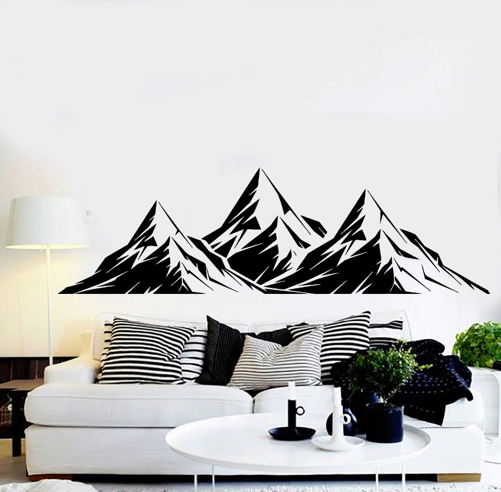 3d vinyl wall mural large size mountains wall sticker for home living room art decoration wall. Black Bedroom Furniture Sets. Home Design Ideas