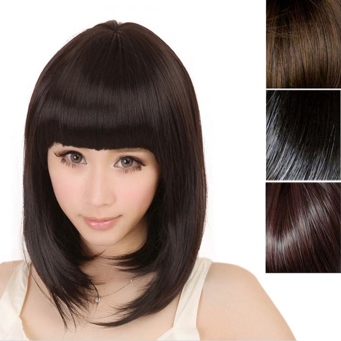 Delicate Newest Fashion Women Ladies Pro Salon Short Straight Full Bangs Hair Cosplay Wig Dark Brown/Light Brown/Black(China (Mainland))