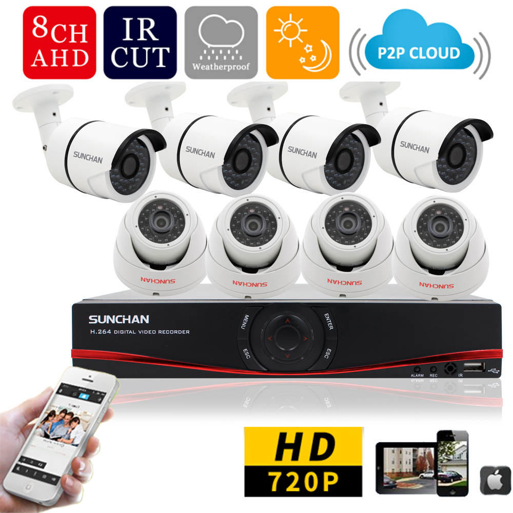 SUNCHAN Home HD 1200TVL 8CH CCTV Security Camera System 8CH DVR 1.0megapixel 720P Outdoor Day Night DIY Kit Video Surveillance(China (Mainland))