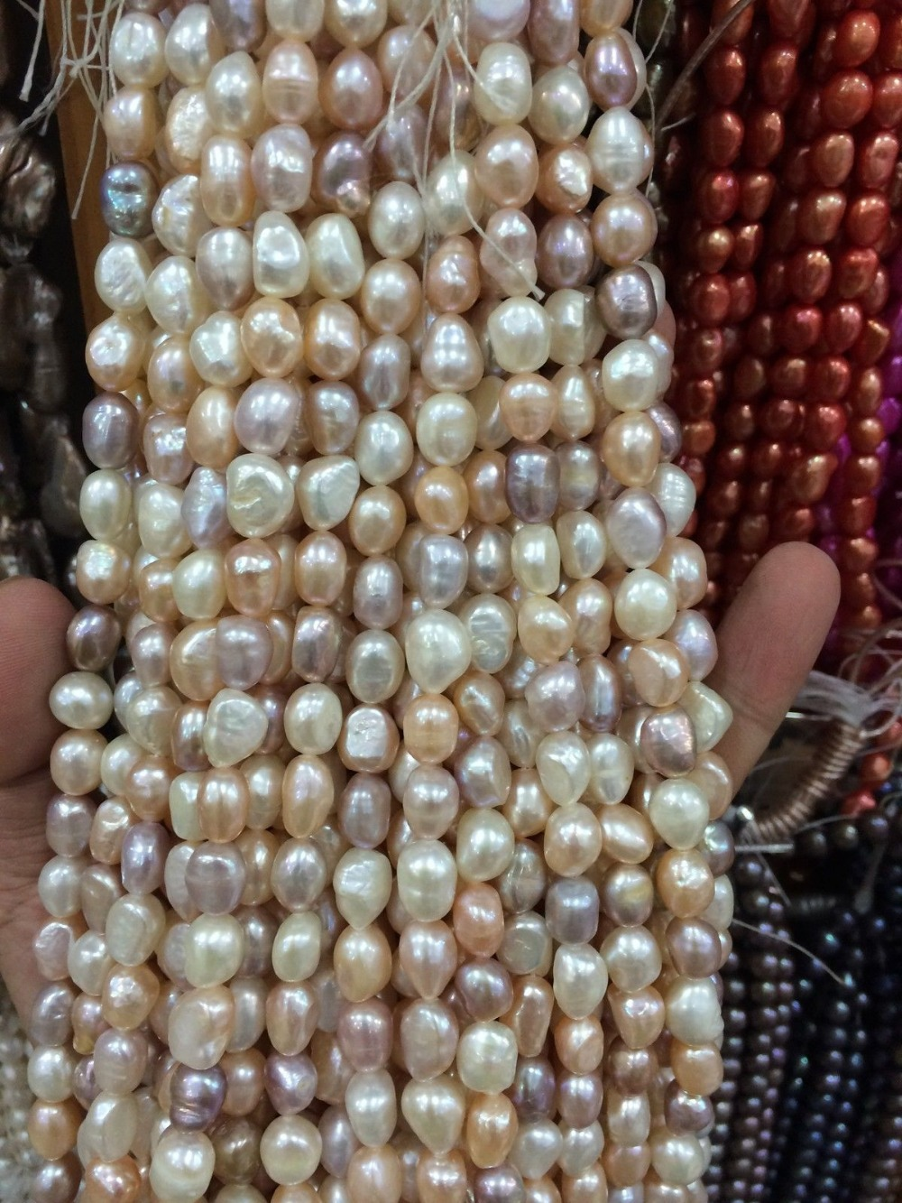 """8-9mm Water White pink purple Freshwater Cultured Pearl Loose Beads 13""""(China (Mainland))"""