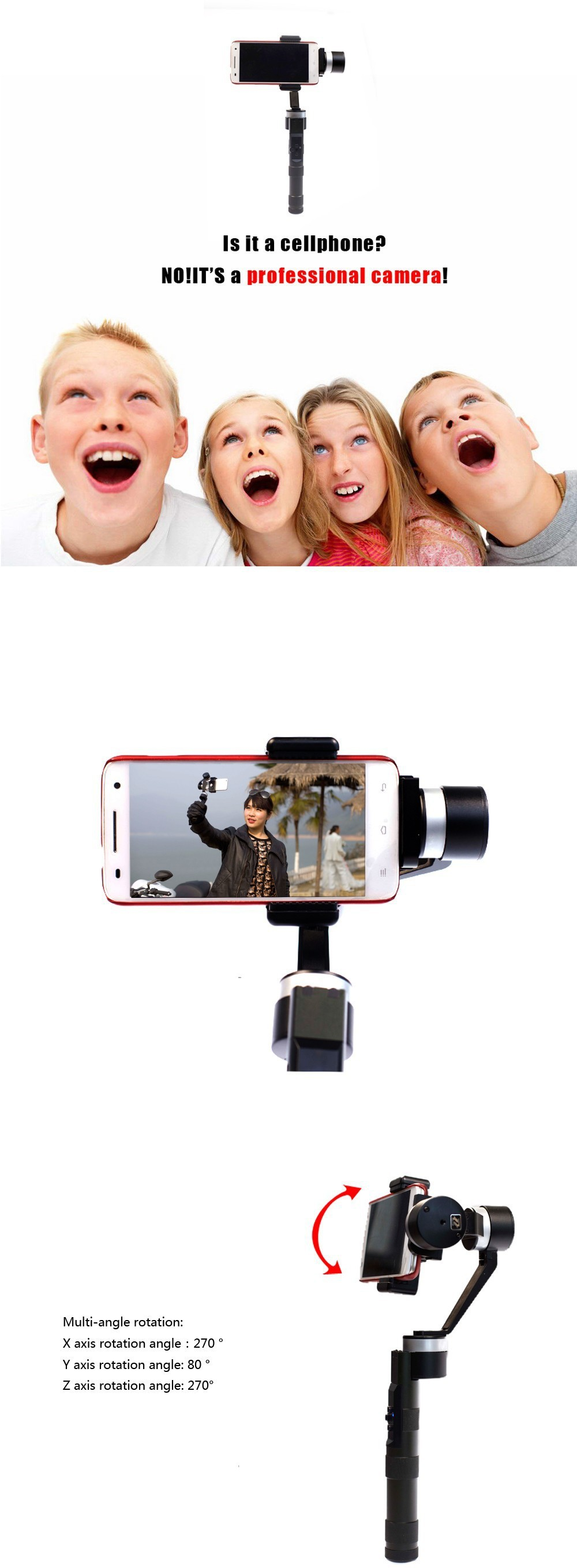 Upgraded Version Of Zhiyun Z1-Smooth 3-Axis Handheld Stabilizing Gimbal For Smartphone iPhone Gopro 3/4
