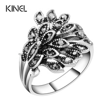 Buy Hot Wholesale Vintage Jewelry Wedding Rings Women Color Silver Mosaic Black Crystal Anillo Gift Accessories for $1.59 in AliExpress store