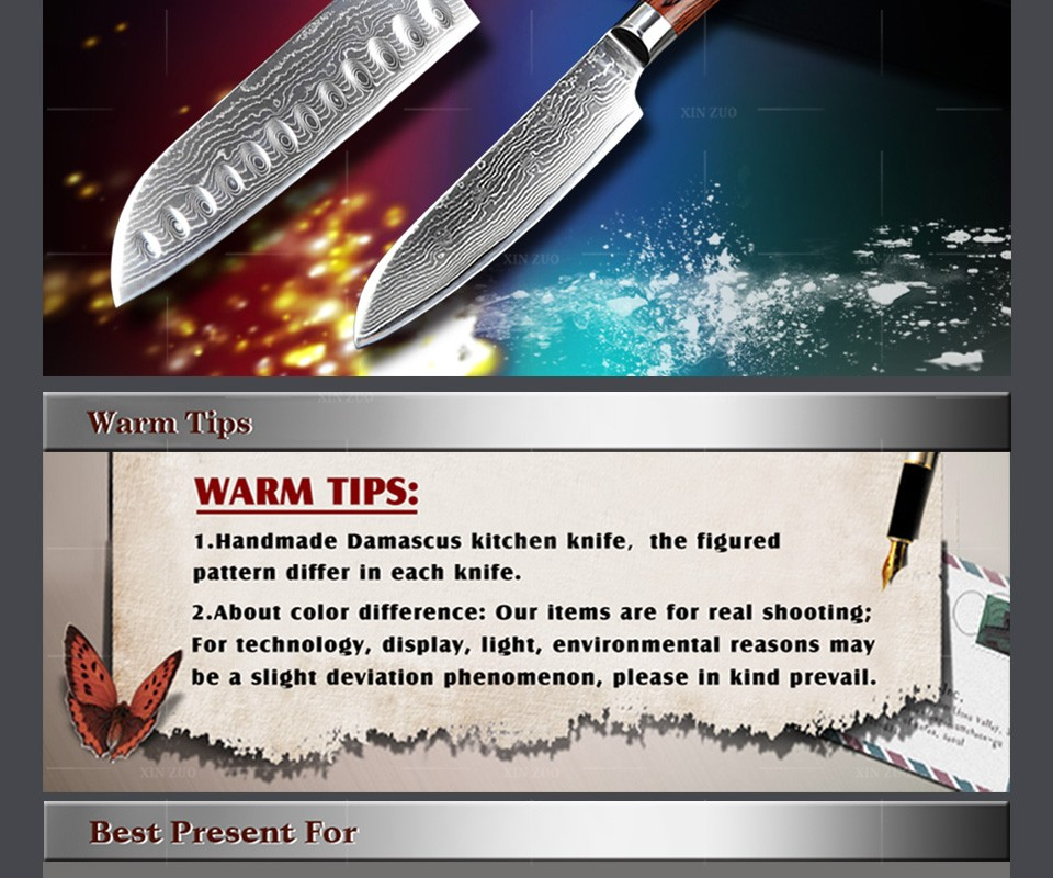 Buy XINZUO 2 pcs kitchen knife set high quality Damascus kitchen knife Japanese vg10 chef santoku knife wood handle free shipping cheap