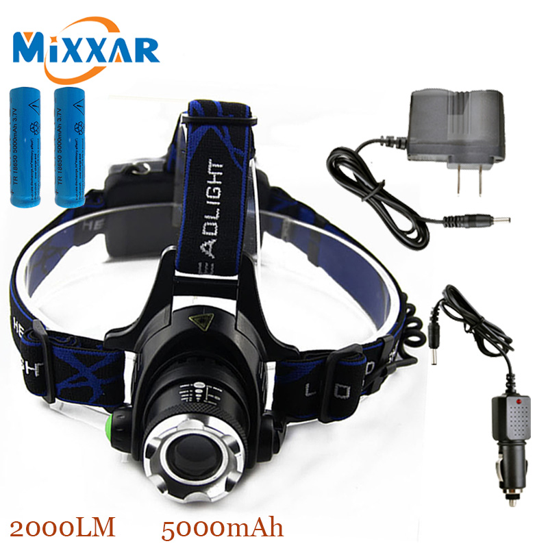 ZK40 Led Headlamp Cree XM-L T6 2000LM flashlight Head Light Adjustable Focus Rechargeable torch 2*18650 Batteries+2*Charger(China (Mainland))
