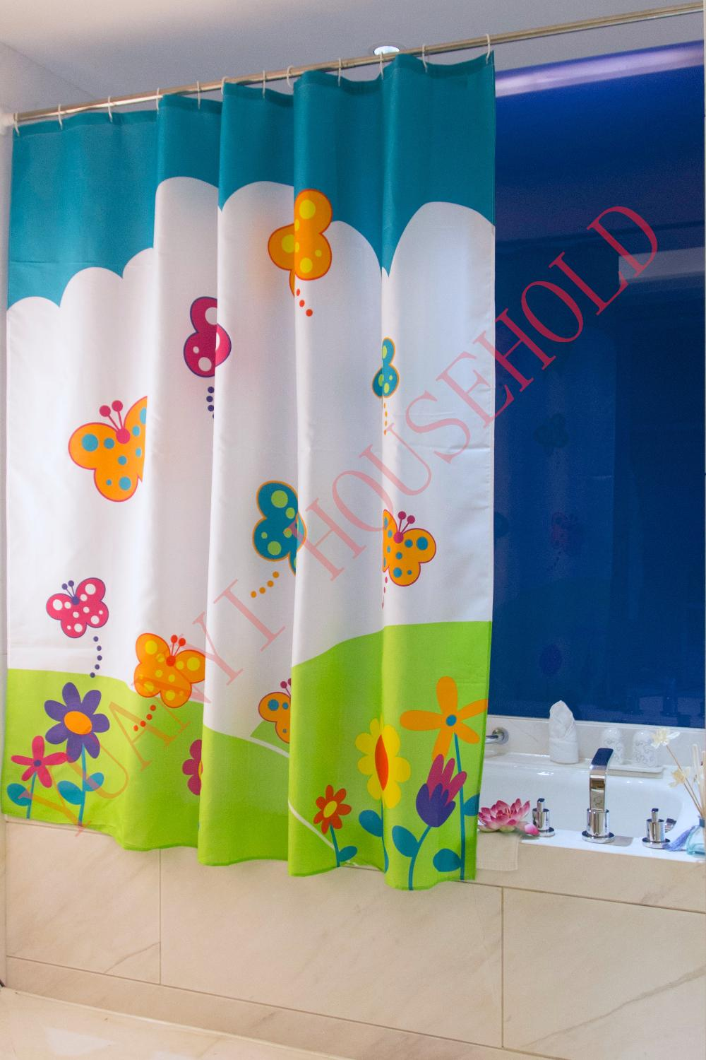 "Bathroom Decoration Polyester Fabric Printed Butterfly Style Shower Curtains Liner Waterproof Bath Curtains 72*72"" 12Pcs Hooks(China (Mainland))"