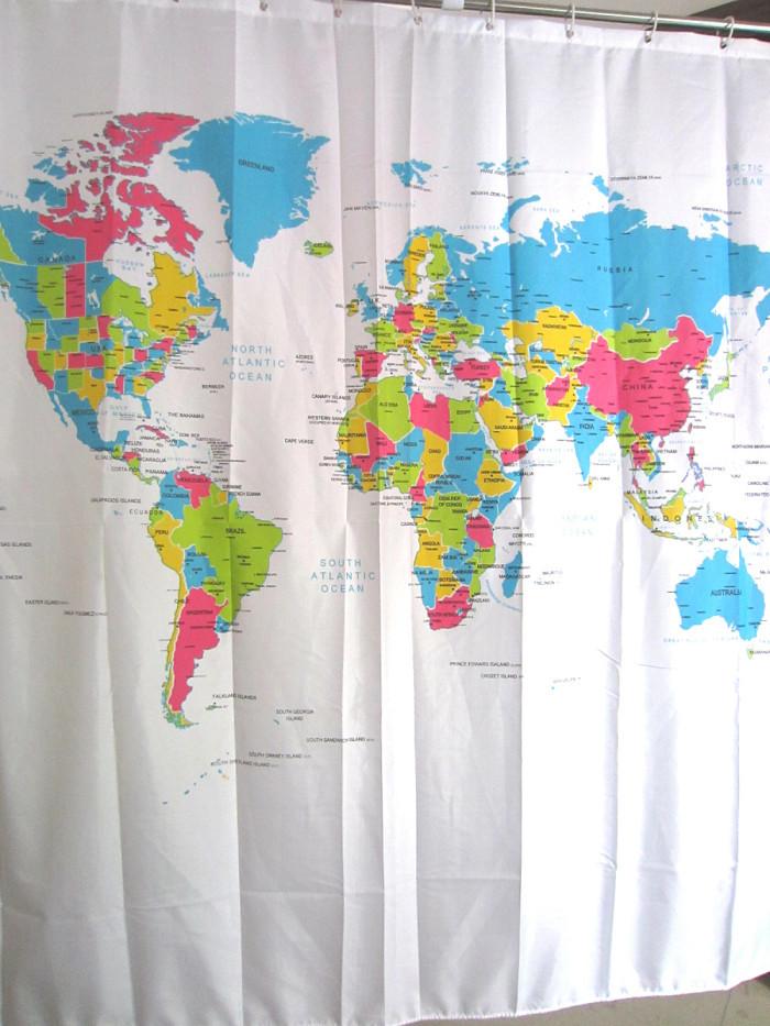 Creative Stylish World Map Bath Shower Curtain With White Plastic C-type Hook Free Shipping(China (Mainland))