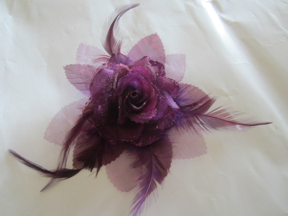 Wedding Purple Rose Feather Blossom Women Lady Elastic Band Hair Fascinator Clip Brooch Pin Corsage, Free Shipping!!!(China (Mainland))