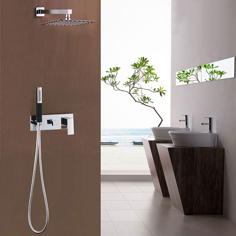 Free shipping Chrome Finish Bath Shower Mixer Faucet Set Single Handle Waterfall Rain Shower Set Faucet with Hand shower IS999(China (Mainland))