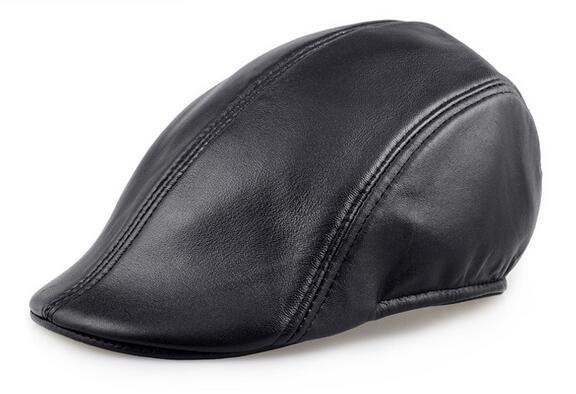 sheepskin leather beret caps 3