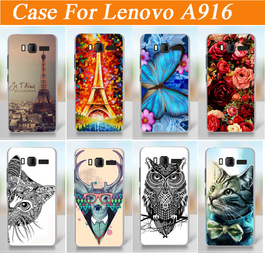 painting colored case cover for Lenovo A916 / fashion diy 3d painted tiger lion rose flowers design case for lenovo a916 cover(China (Mainland))