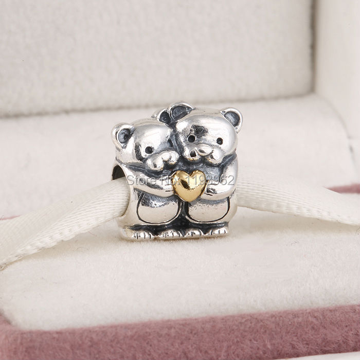 Original 925 Sterling Silver Teddy Bears Hug Charm Beads Fits Pandora Bracelets 14K Gold Plated Heart Bear Animal Jewelry LW391(China (Mainland))