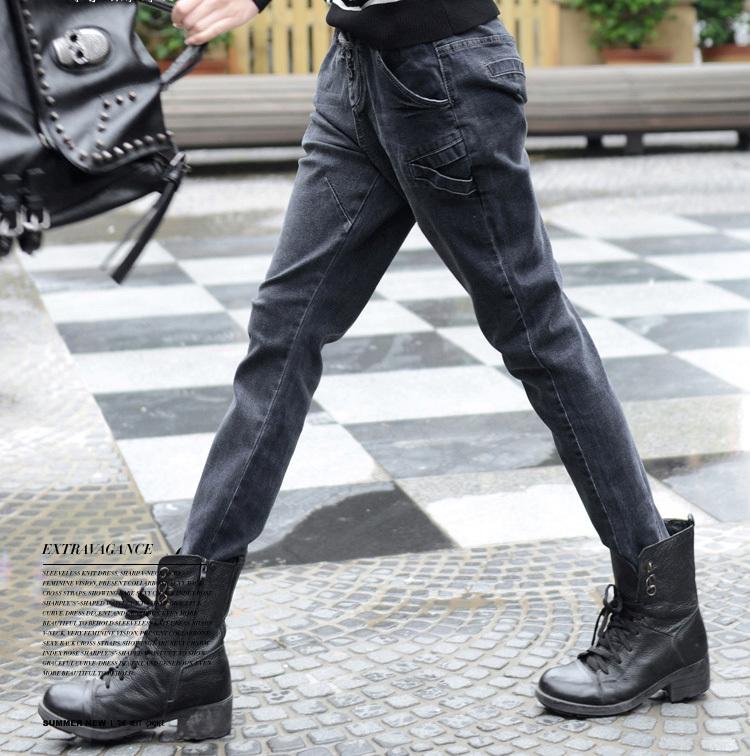 2014 New Summer Autumn Floral Flanging Women Jeans Small Feet Skinny Slim Custom Fit Denim Pencil Pants DF-68C140926