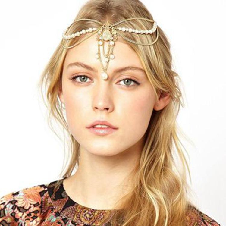 Women Fashion Rhinestone Pearl Gold Head Chain Headband Head Piece Wedding Hair band Jewelry Wholesale(China (Mainland))