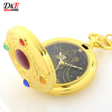 Wholesale Price Colorful Rhinestone Famous Anime Sailor Moon Series Women Golden Roman Quartz Pocket Watch Necklace