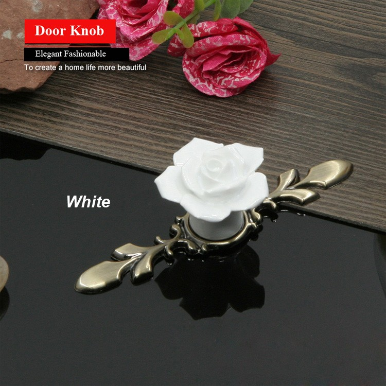 European Style Ceramic Drawer Cabinet Cupboard Door Knob Furniture Handle With Metal Pad