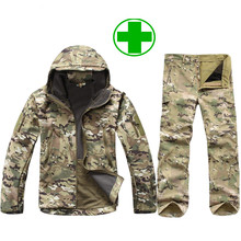 Winter Autumn Waterproof Shark Skin Soft Shell Jacket Set Men Tactical CP Camouflage Jacket Coat Camo Military Army Clothes Suit(China (Mainland))