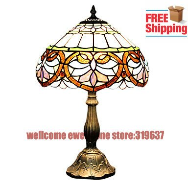 Free Shipping Tiffany Style Umbrella Type Stained Glass Table Lamp(China (Mainland))